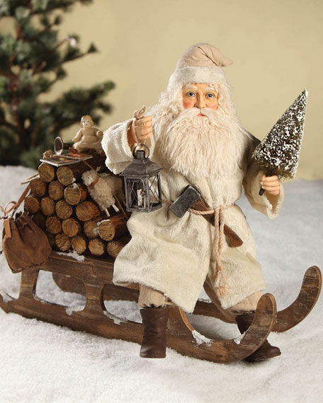 Santa on Log Sled