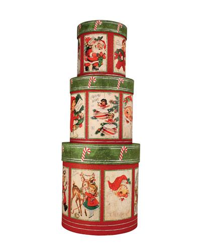 Retro Christmas Nesting Boxes  Set of 3