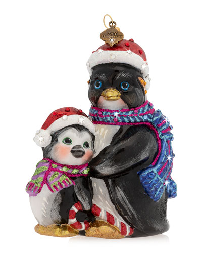 Father And Child Penguin Glass Christmas Ornament