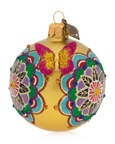 Mandala 3 Glass Ball Christmas Ornament