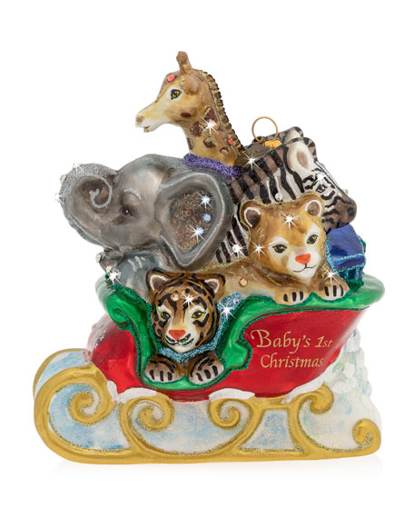 Jay Strongwater Baby's First Christmas Jungle Ornament