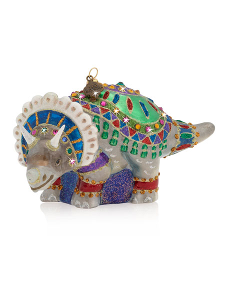 Jay Strongwater Triceratops Glass Ornament