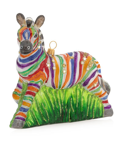 Rainbow Zebra Glass Christmas Ornament
