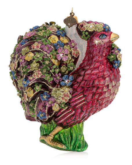 Jay Strongwater Millie Fiori Rooster Glass Ornament