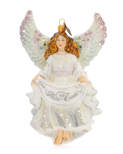 Peace On Earth Angel Glass  Christmas Ornament