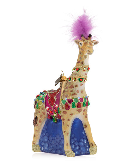 Jay Strongwater Carousel Giraffe Glass Christmas Ornament