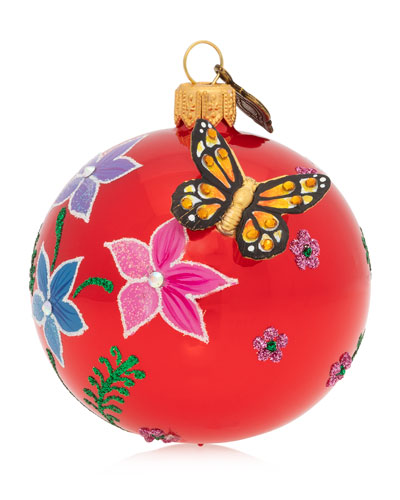 Floral Butterfly 3 Glass Or Christmas Ornament