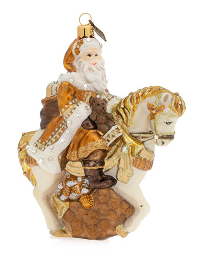 Santa On Horse Glass   Christmas Ornament