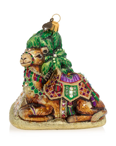 Camel and Pyramid Glass Ornament