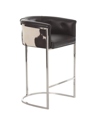 Calvin Leather & Hair Hide Bar Stool