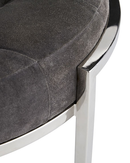 Orielle Suede & Stainless Ottoman