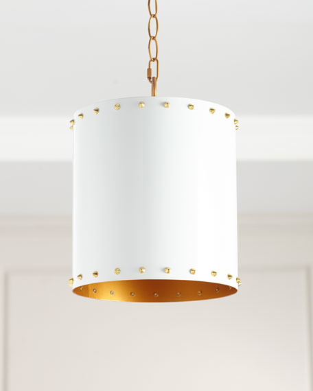 Couture Lamps Metal Drum Studded Pendant, 10