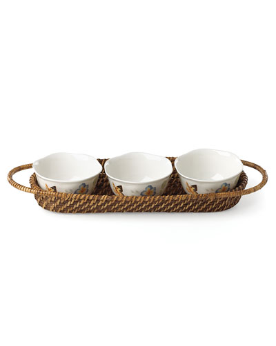 Butterfly Meadow Family Style Holder with 3 Bowls