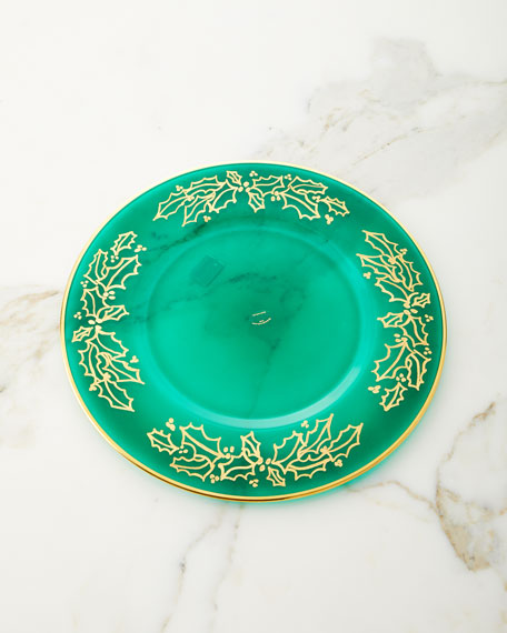 Neiman Marcus Hand Painted Holiday Charger Plates, Set