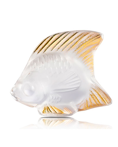 Clear Gold Stamped Fish Figurine
