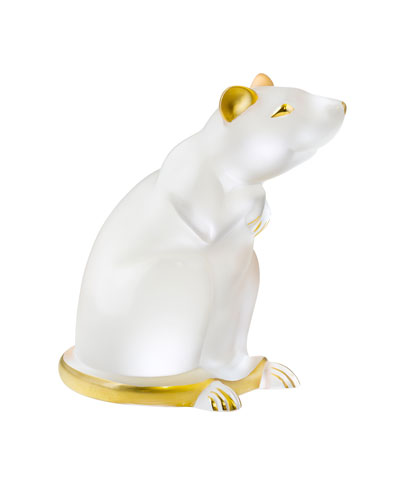 Clear Gold Stamped Rat Figurine