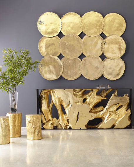 Cast Root Console Table, Gold