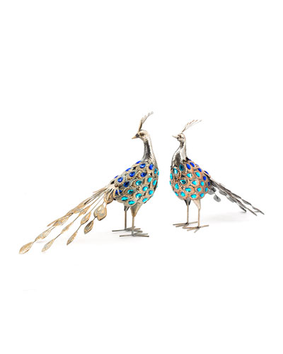 Metallic Iron Pheasants  Set of 2