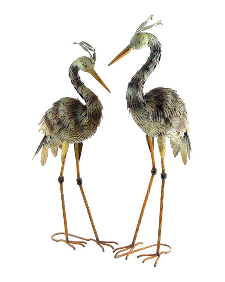 Small Painted Blue Herons, Set of 2