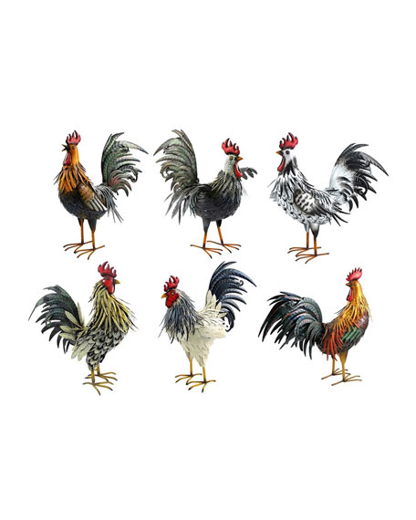 Painted Iron Rooster Figurines, Set of 6