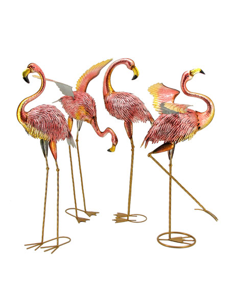Metallic Pink Flamingos, Set of 4