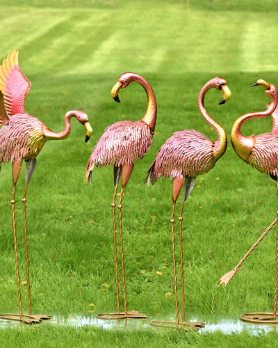 Metallic Pink Flamingos  Set of 4