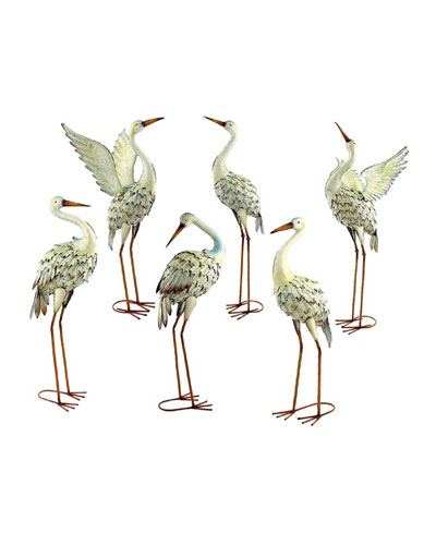 Assorted Iron Great White Herons  Set of 6