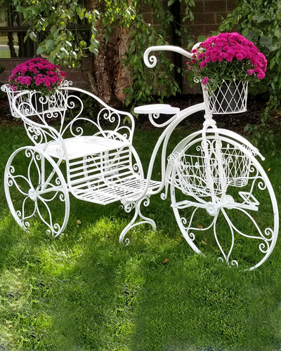 Large Tricycle Flower Stand with Moving Wheels & Flower Baskets