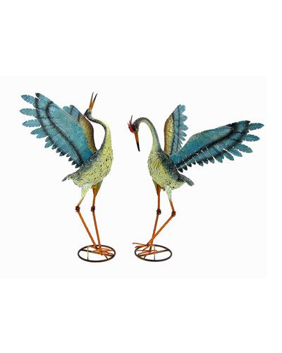Small Distressed Dancing Cranes  Set of 2