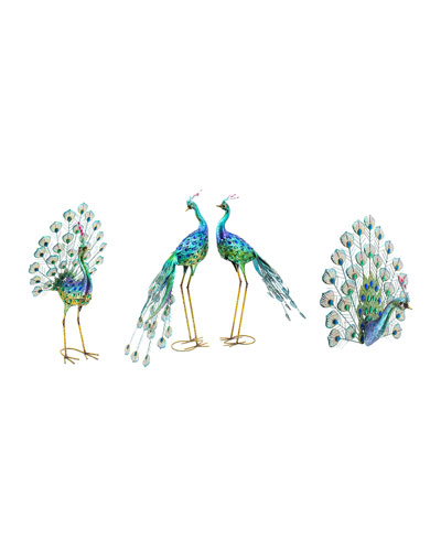 Assorted Iron Peacocks with Acrylic Crystals  Set of 4