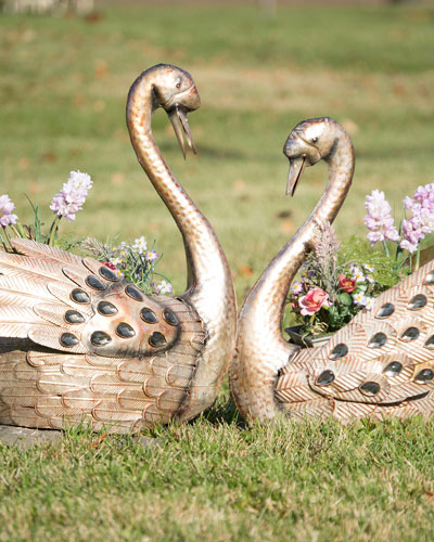 Iron Metallic Swan Planters  Set of 2