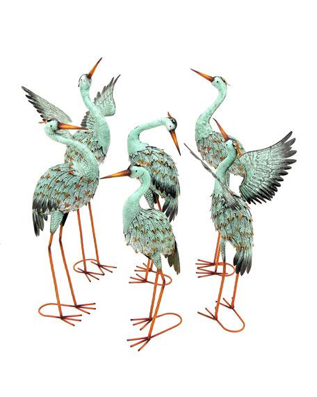 Assorted Iron Blue Cranes, Set of 6