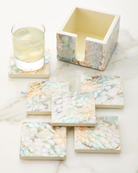 Mother of Pearl Natural Coasters, Set of 6