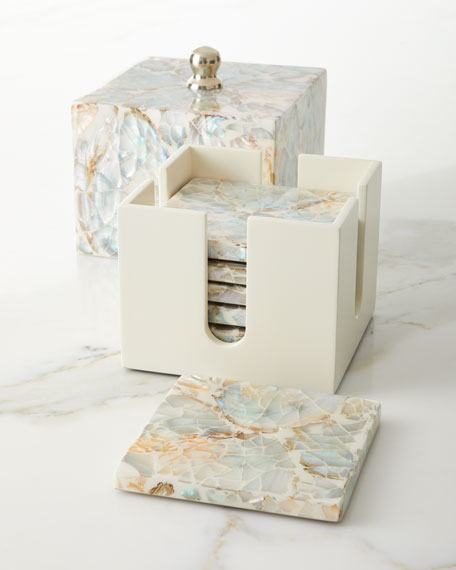 Mother-of-Pearl Luxe Coaster Box Set