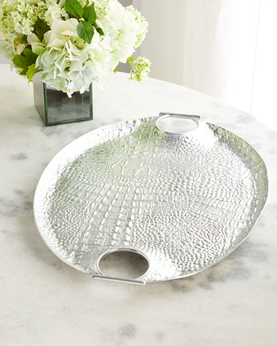 Crocodile Oval Handled Tray