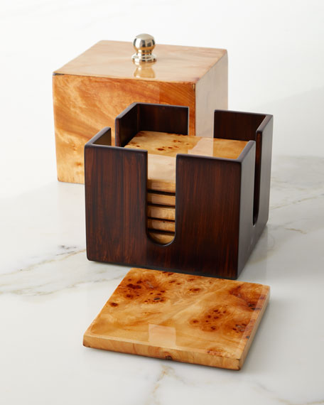 Burl Veneer Luxe Coaster Box Set
