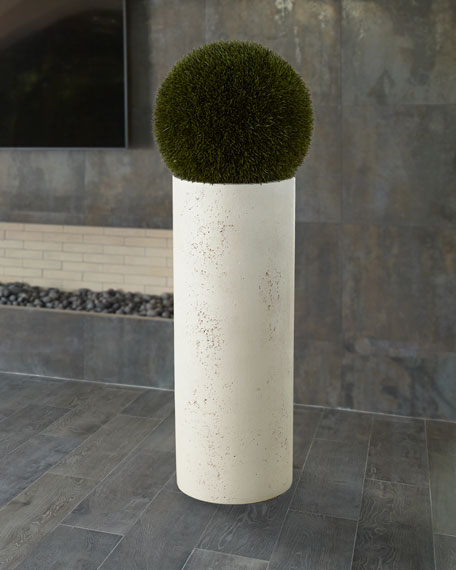 Grass Ball in Tall Resin Planter