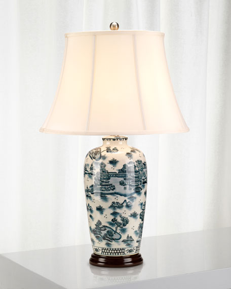 Mckearn Blue Traditional Willow Table Lamp, Blue Willow Table Lamps