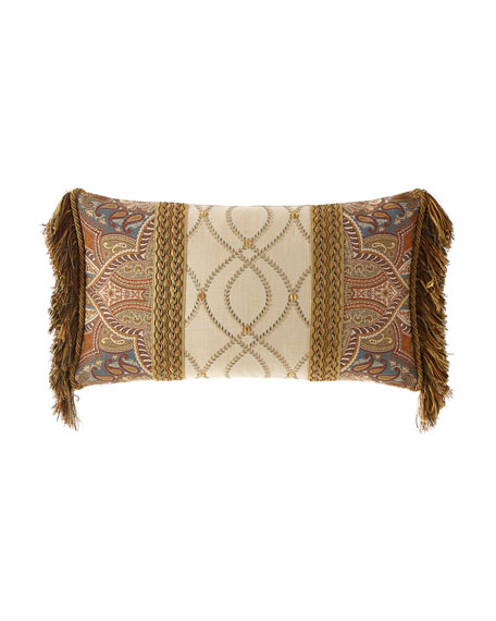 Sandoa Pieced Oblong Pillow with Fringe