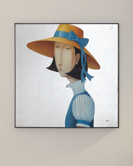 """Girl in Blue"" Painting by Teng Fei"