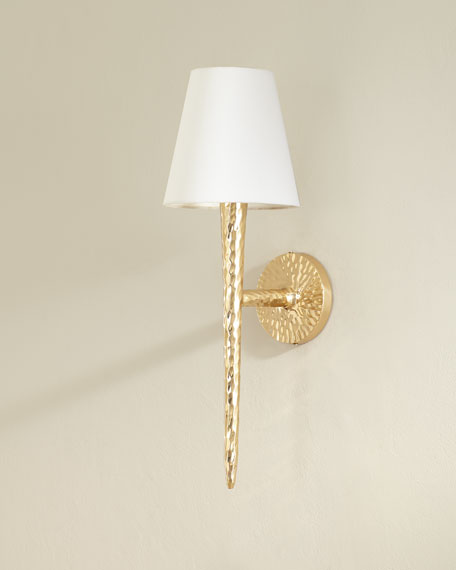 Pinched Brass Hammered Wall Sconce