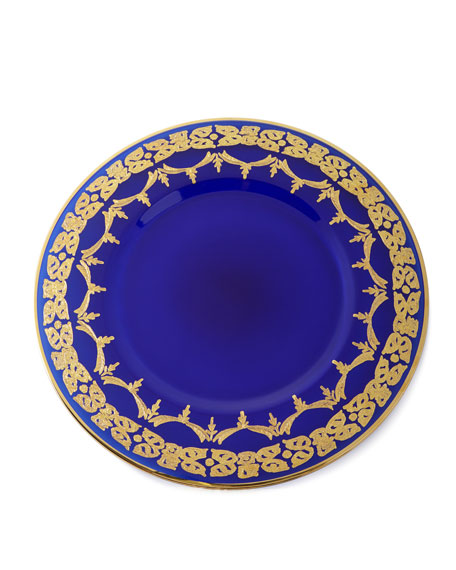Exclusive Blue Oro Bello Charger Plates, Set of
