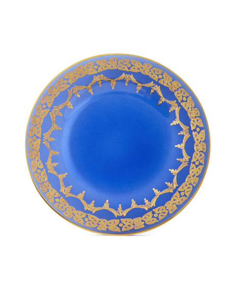 Neiman Marcus Blue Oro Bello Dinner Plates, Set