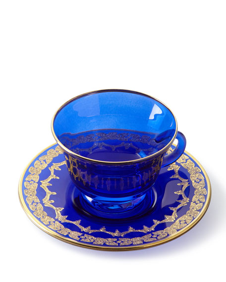 Neiman Marcus Blue Oro Bello Teacups & Saucers,