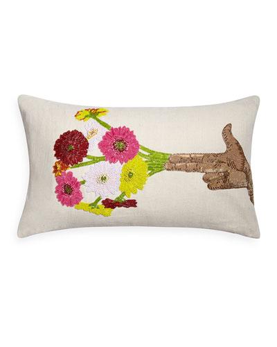 Hand Flower Beaded Pillow