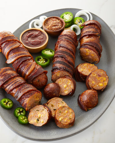 Bacon Wrapped Smoked Stuffed Sausage
