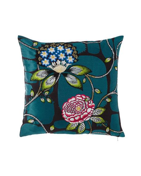 Christian Lacroix Les Rosales Bleu Paon Pillow