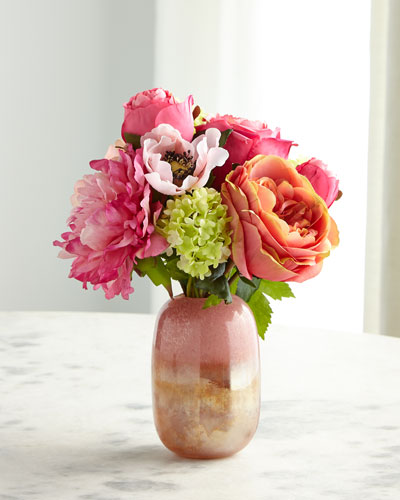 Rose Anemone Peach Pink Florals in Glass Vase