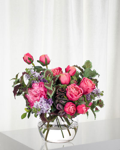 Rose Lilac Fuchsia Purple Florals in Glass Vase