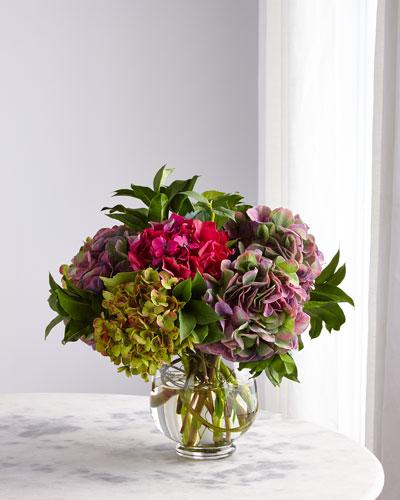 Purple Fuchsia Hydrangea Arrangement in Glass Vase